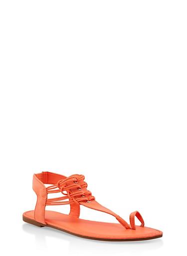 Elastic Strap Toe Ring Thong Sandals,NEON ORANGE,large