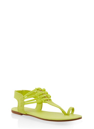 Elastic Strap Toe Ring Thong Sandals,NEON YELLOW,large