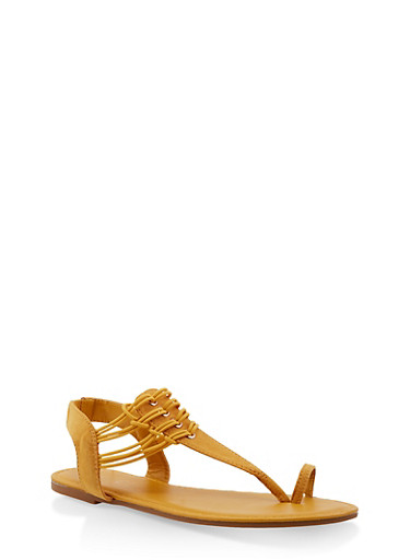 Elastic Strap Toe Ring Thong Sandals,YELLOW S,large