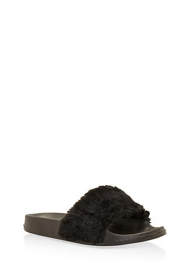 Faux Fur Slides,BLACK,large