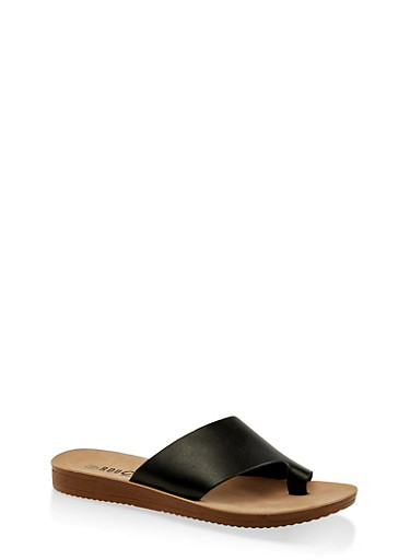 Asymmetrical Band Toe Loop Slide Sandals,BLACK,large