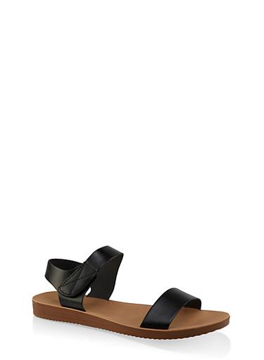 Single Band Velcro Strap Sandals,BLACK,large