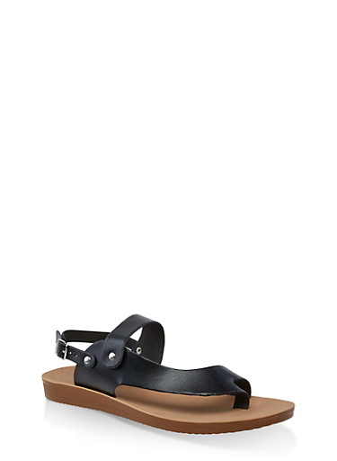 Asymmetrical Toe Ring Slingback Sandals,BLACK,large