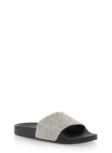 Rhinestone Studded Slides,BLACK,large