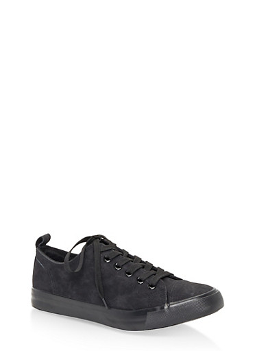 Lace Up Sneakers,BLACK,large