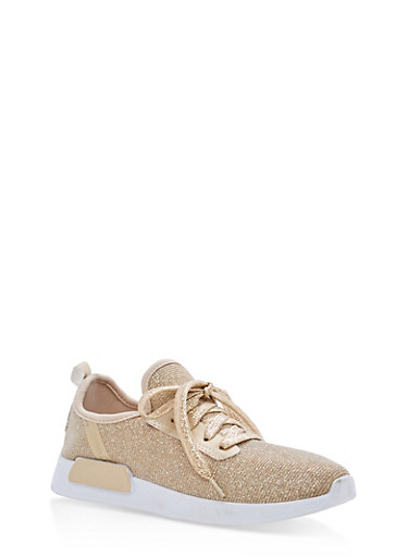 Lace Up Knit Sneakers,METALLIC GOLD,large
