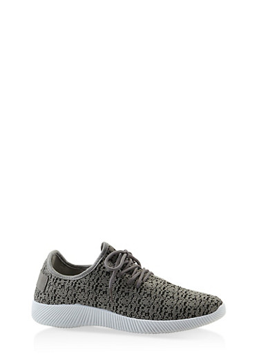 Knit Lace Up Sneakers,GRAY,large