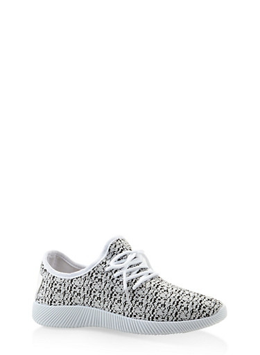 Knit Lace Up Sneakers,WHITE,large