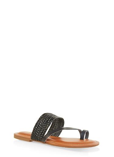 Asymmetrical Woven Toe Ring Slide Sandals,BLACK,large