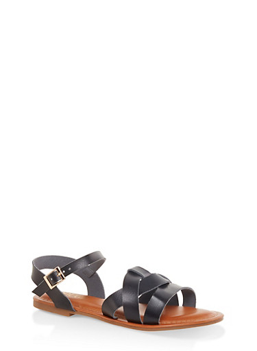 Criss Cross Band Ankle Strap Sandals,BLACK,large