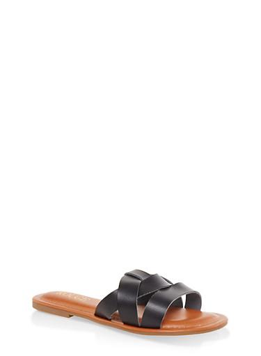 Woven Slide Sandals,BLACK,large