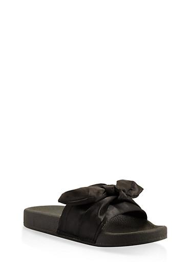Tie Bow Slides,BLACK,large