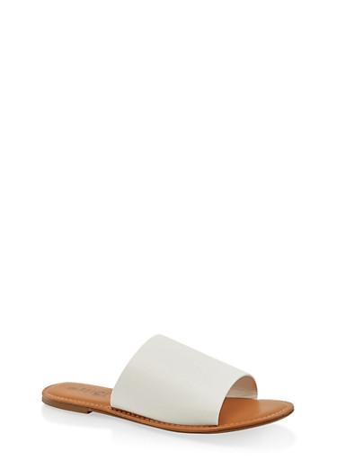 Wide Band Slide Sandals | 3112073541006,WHITE,large