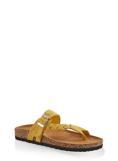 Braided Buckle Footbed Sandals,YELLOW S,large