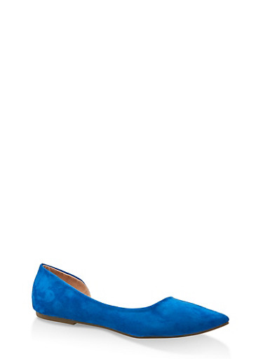 Pointed Toe Dorsay Flats,RYL BLUE,large