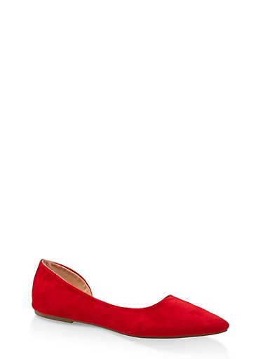 Pointed Toe Dorsay Flats,RED S,large