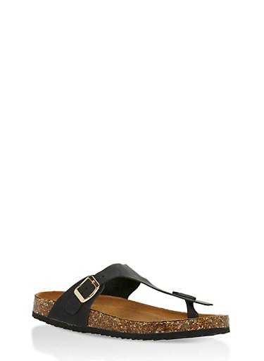 Cork Sole Thong Slide Sandals,BLACK,large
