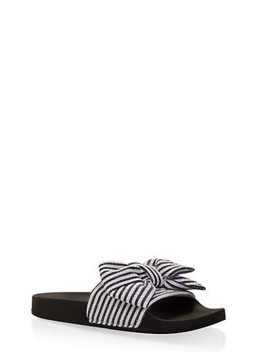 Striped Bow Slides | Tuggl