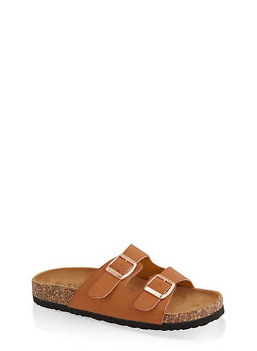 Two Buckle Footbed Slide Sandals | 3112073541902,TAN,large