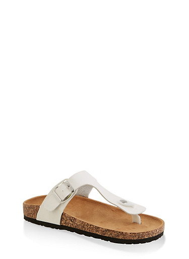 Thong Footbed Slide Sandals | 3112073541903,WHITE,large