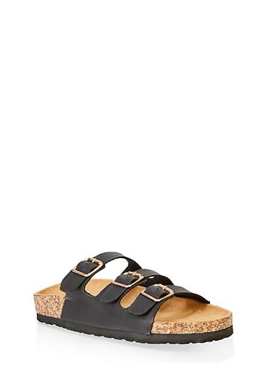 Triple Strap Footbed Sandals,BLACK,large