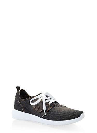 Distressed Denim Sneakers,BLACK,large