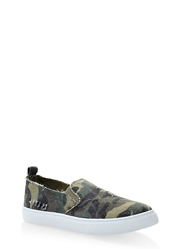 Distressed Camo Slip On Sneakers,MULTI COLOR,large