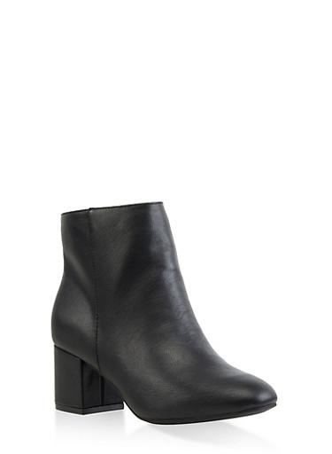 Block Heel Booties,BLACK,large