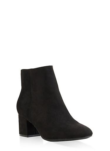 Block Heel Booties - BLACK SUEDE - 3113004062263