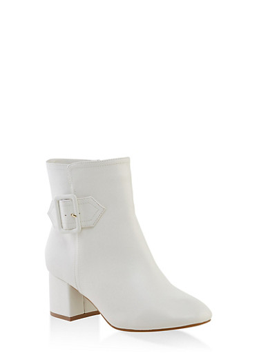 Buckle Detail Heeled Booties,WHITE,large
