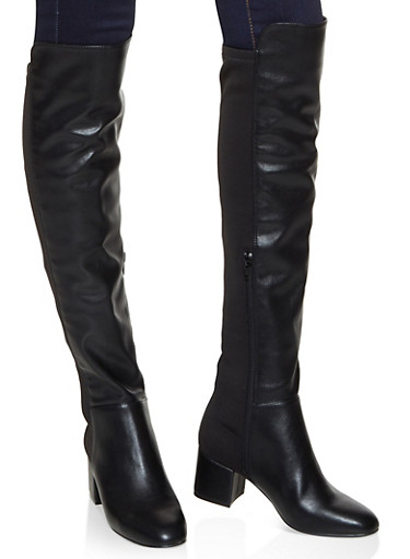 Stretch Back Over the Knee Boots,BLACK,large