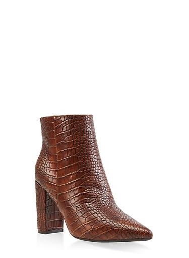 Pointed Toe Block Heel Booties,BROWN,large