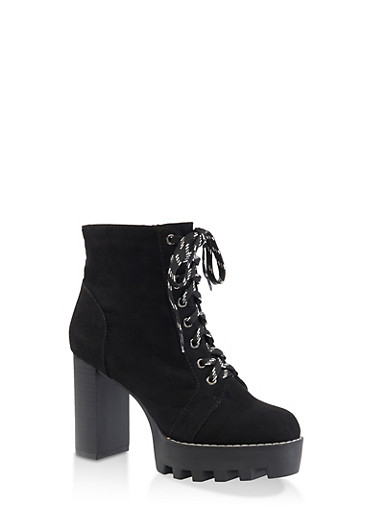 Lace Up Platform High Heel Booties,BLACK SUEDE,large