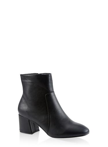 Block Heel Side Zip Booties - 3113004064745