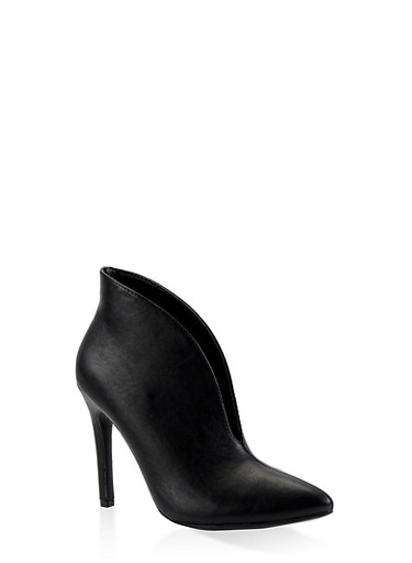 Open Vamp High Heel Booties,BLACK,large