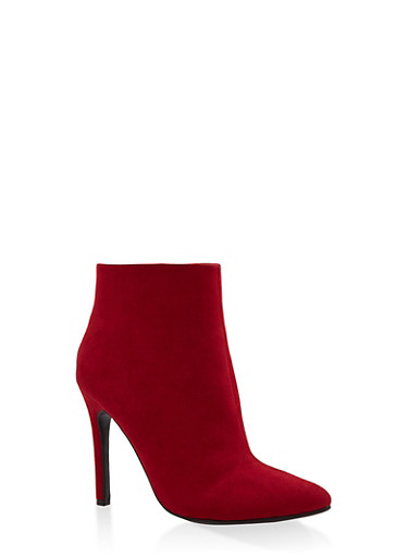 Pointed Toe High Heel Booties,RED,large
