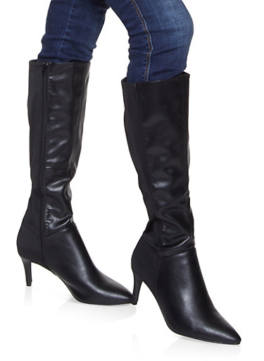 Pointed Toe Knee High Boots,BLACK,large