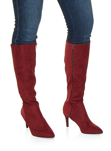Pointed Toe Knee High Boots,WINE,large