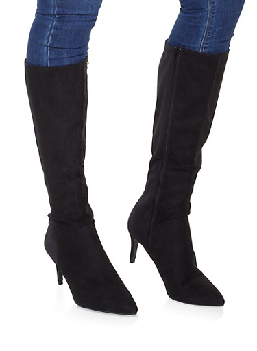 Pointed Toe Knee High Boots,BLACK SUEDE,large