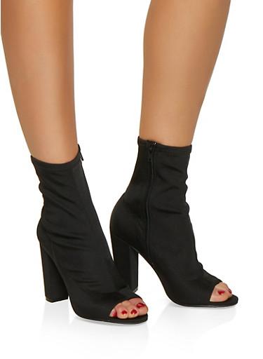Peep Toe Stretch High Heel Booties,BLACK,large