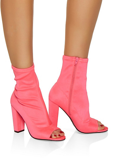 Peep Toe Stretch High Heel Booties,NEON PINK,large