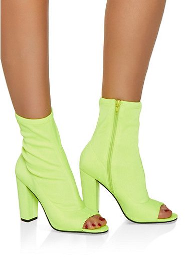 Peep Toe Stretch High Heel Booties,NEON YELLOW,large