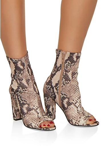 Peep Toe Stretch High Heel Booties,MULTI COLOR,large