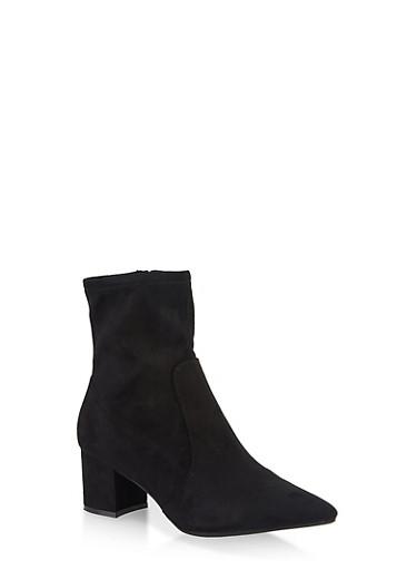 Pointed Toe Mid Block Heel Booties,BLACK SUEDE,large