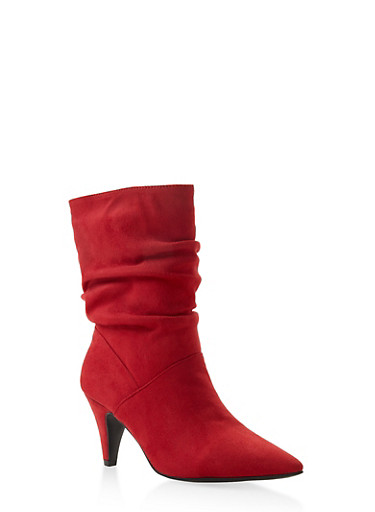 Pointed Toe Slouch Booties,RED,large