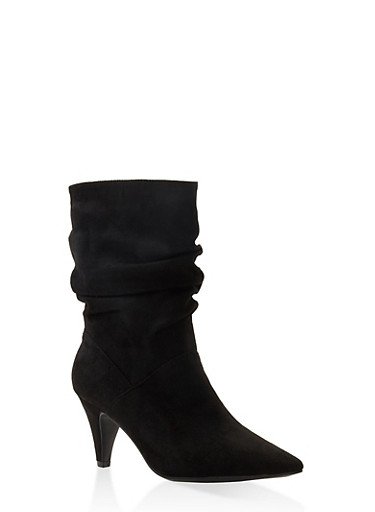 Pointed Toe Slouch Booties,BLACK SUEDE,large