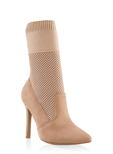 Stretch Knit High Heel Booties,BLUSH,large