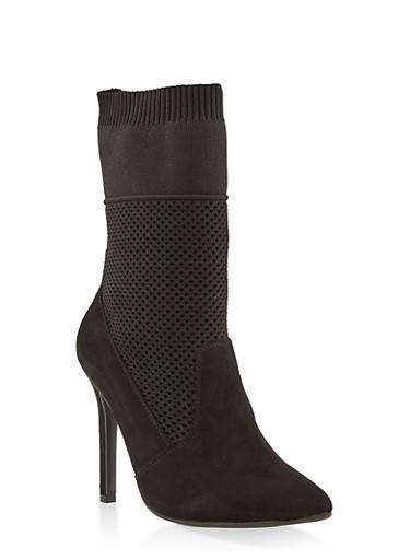 Stretch Knit High Heel Booties,BLACK SUEDE,large