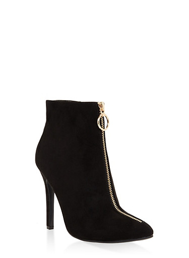 Zipper Detail High Heel Booties,BLACK SUEDE,large