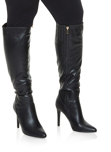 Faux Leather High Heel Over the Knee Boots,BLACK,large